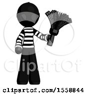 Black Thief Man Holding Feather Duster Facing Forward