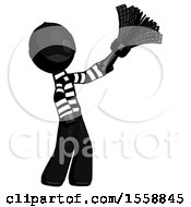 Black Thief Man Dusting With Feather Duster Upwards