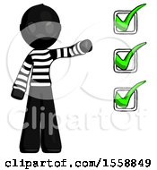 Black Thief Man Standing By List Of Checkmarks
