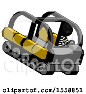 Black Thief Man Driving Amphibious Tracked Vehicle Top Angle View