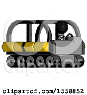 Black Thief Man Driving Amphibious Tracked Vehicle Side Angle View