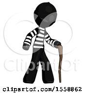 Black Thief Man Walking With Hiking Stick