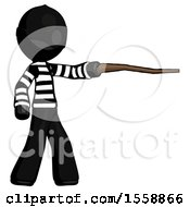Black Thief Man Pointing With Hiking Stick