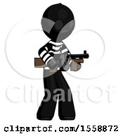 Black Thief Man Tommy Gun Gangster Shooting Pose