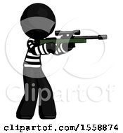 Black Thief Man Shooting Sniper Rifle