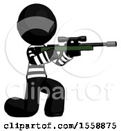 Black Thief Man Kneeling Shooting Sniper Rifle