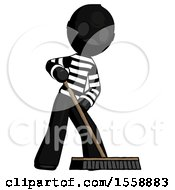 Black Thief Man Cleaning Services Janitor Sweeping Floor With Push Broom
