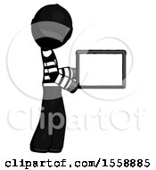 Black Thief Man Show Tablet Device Computer To Viewer Blank Area