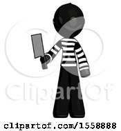 Black Thief Man Holding Meat Cleaver