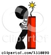 Black Thief Man Leaning Against Dynimate Large Stick Ready To Blow