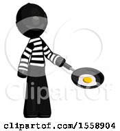 Poster, Art Print Of Black Thief Man Frying Egg In Pan Or Wok Facing Right