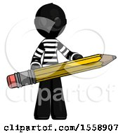 Black Thief Man Writer Or Blogger Holding Large Pencil