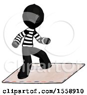 Black Thief Man On Postage Envelope Surfing