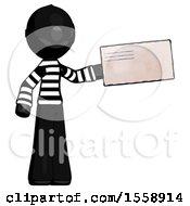 Black Thief Man Holding Large Envelope