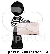 Black Thief Man Presenting Large Envelope