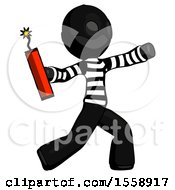 Black Thief Man Throwing Dynamite