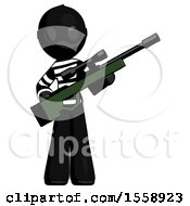 Black Thief Man Holding Sniper Rifle Gun