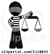 Black Thief Man Holding Scales Of Justice