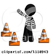 Black Thief Man Standing By Traffic Cones Waving