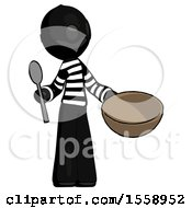 Black Thief Man With Empty Bowl And Spoon Ready To Make Something
