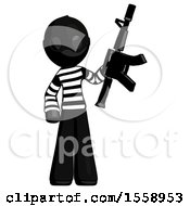 Black Thief Man Holding Automatic Gun