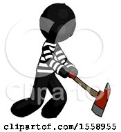 Black Thief Man Striking With A Red Firefighters Ax