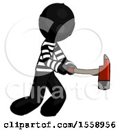 Black Thief Man With Ax Hitting Striking Or Chopping