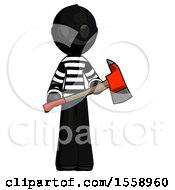 Black Thief Man Holding Red Fire Fighters Ax