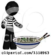 Black Thief Man And Noodle Bowl Giant Soup Restaraunt Concept