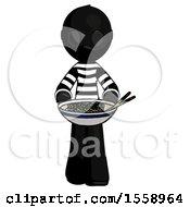 Black Thief Man Serving Or Presenting Noodles