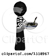 Black Thief Man Holding Noodles Offering To Viewer