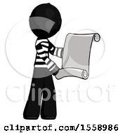 Black Thief Man Holding Blueprints Or Scroll