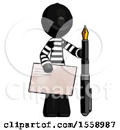Black Thief Man Holding Large Envelope And Calligraphy Pen