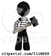 Black Thief Man With Sledgehammer Standing Ready To Work Or Defend