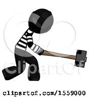 Black Thief Man Hitting With Sledgehammer Or Smashing Something