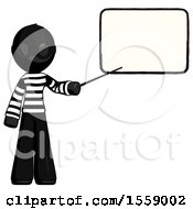 Black Thief Man Giving Presentation In Front Of Dry Erase Board