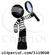 Black Thief Man Inspecting With Large Magnifying Glass Facing Up