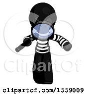 Black Thief Man Looking Down Through Magnifying Glass