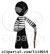 Black Thief Man Standing With Hiking Stick