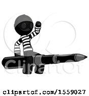 Black Thief Man Riding A Pen Like A Giant Rocket