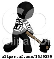 Black Thief Man Hitting With Sledgehammer Or Smashing Something At Angle