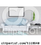 Clipart Of A 3D Render Of A Modern Lounge Interior With Blank Picture Hanging On Wall Royalty Free Illustration