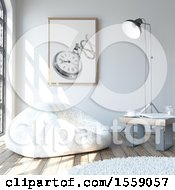 Clipart Of A 3d Room Interior With A Bean Bag Chair Royalty Free Illustration