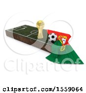 3d Soccer Ball Trophy Cup Flag And Pitch On A Shaded Background