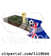 Poster, Art Print Of 3d Soccer Ball Trophy Cup Flag And Pitch On A Shaded Background