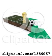 Clipart Of A 3d Soccer Ball Trophy Cup Flag And Pitch On A Shaded Background Royalty Free Illustration