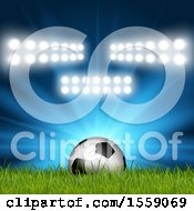Clipart Of A 3d Soccer Ball In Grass With Stadium Lights Royalty Free Vector Illustration by KJ Pargeter