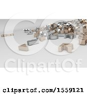 Clipart Of 3d Alphabet Letters On A Shaded Background Royalty Free Illustration