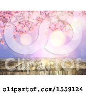 Clipart Of A 3D Render Of A Vintage Image Of An Old Wooden Table With A Cherry Blossom Background Royalty Free Illustration