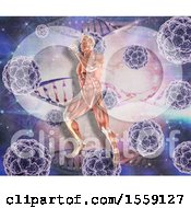 Poster, Art Print Of 3d Muscular Man Running Over Dna Strands And Viruses